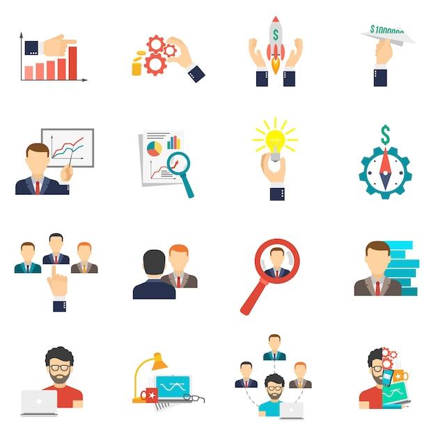 Conjunto de plano de ícone de negócios Vetor grátis