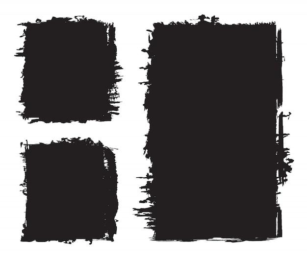 Conjunto de planos de fundo preto grunge Vetor Premium