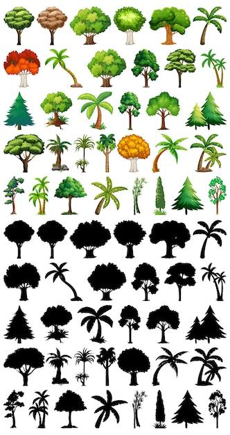 Conjunto de planta e árvore com sua silhueta Vetor grátis