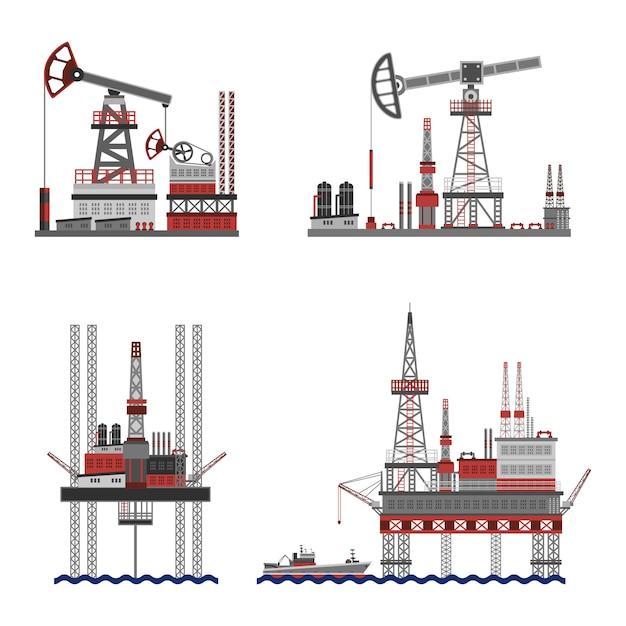 Conjunto de plataformas de petróleo Vetor grátis