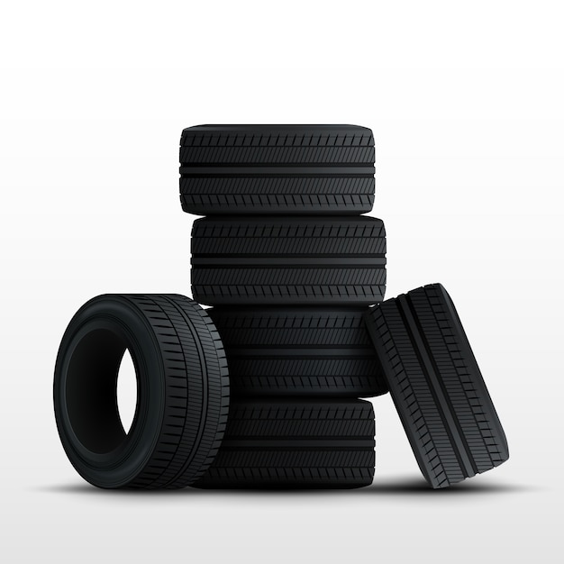 Conjunto de pneus. pneus de carro 3d realistas isolados no branco. Vetor Premium