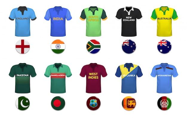 Conjunto de polo camisetas e bandeiras da equipe nacional. Vetor Premium