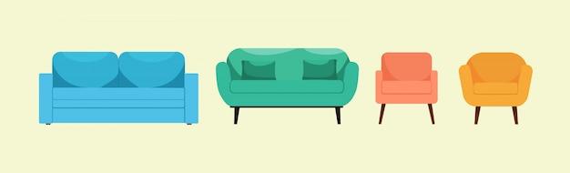 Conjunto de poltronas e sofás lindos brilhantes nas pernas altas, sobre um fundo isolado. logotipo, ícone, conceito de design de interiores e página da web. design moderno. estilo simples. ilustração. Vetor Premium