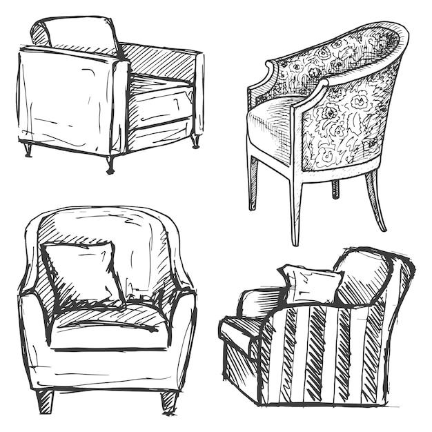 Conjunto de poltronas isolado no fundo branco. ilustração em um estilo de desenho. Vetor Premium
