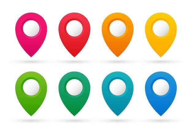 Conjunto de ponteiros coloridos. coleção de marcadores de mapa. pinos do mapa. Vetor Premium