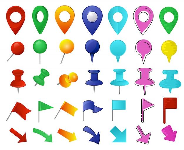 Conjunto de ponteiros de mapa Vetor Premium