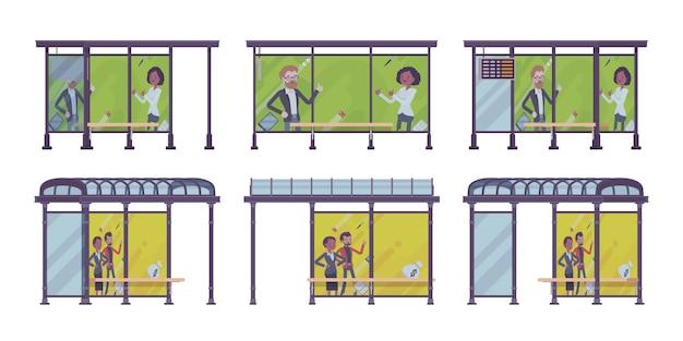 Conjunto de ponto de ônibus. coloque os passageiros aguardam transporte público, banners com propaganda. embelezamento de rua da cidade, conceito urbano. estilo cartoon ilustração, posições diferentes Vetor Premium
