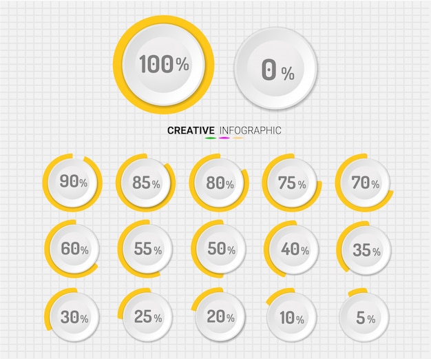 Conjunto de porcentagem de círculo Vetor Premium