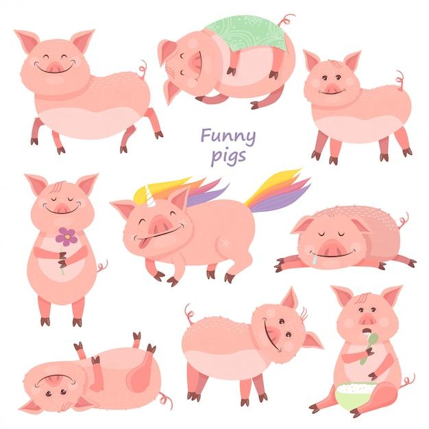 Conjunto de porquinho engraçado Vetor Premium