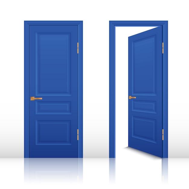 Conjunto de porta aberta e fechada de casa Vetor grátis