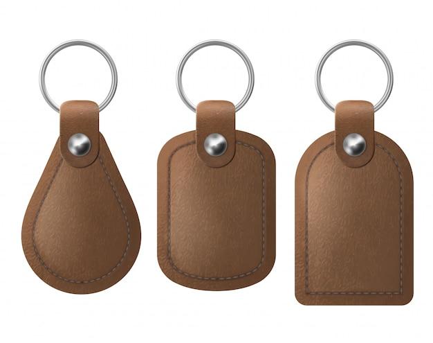 Conjunto de porta-chaves de couro, porta-chaves marrom. Vetor grátis