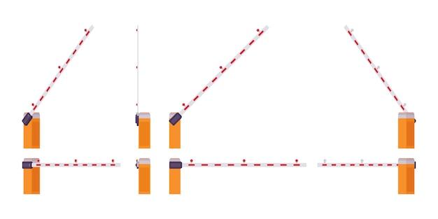 Conjunto de portão de barreira de lança automática. barra, poste para bloquear o acesso através de um ponto controlado. embelezamento de rua da cidade, conceito de design urbano. estilo cartoon ilustração, posições diferentes Vetor Premium
