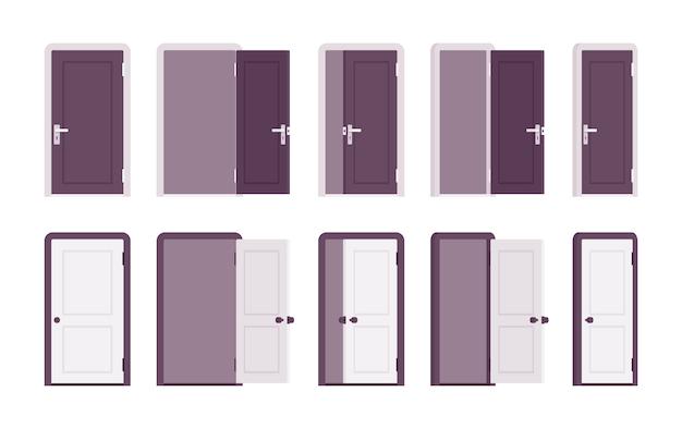 Conjunto de portas em branco e preto Vetor Premium