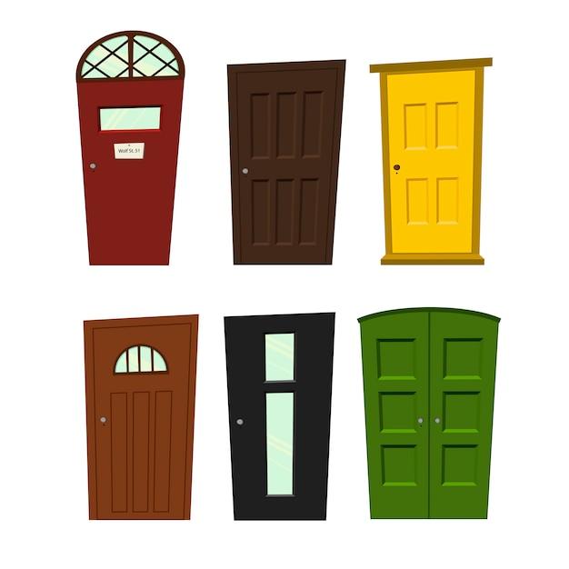 Conjunto de portas em um fundo branco para construção e design. Vetor Premium