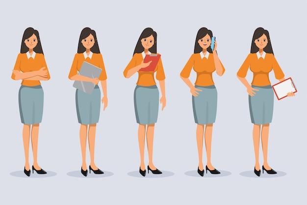 Conjunto de pose de diferença de personagem de mulher de negócios no estilo de escritório. Vetor Premium
