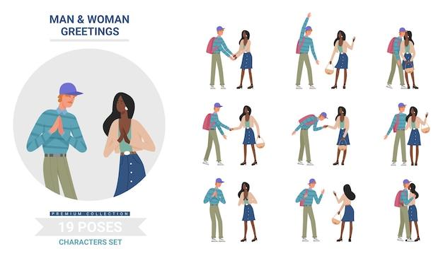 Conjunto de poses de saudação de pessoas, personagens de desenhos animados homem mulher cumprimentando, posando, apertando a mão e se abraçando Vetor Premium
