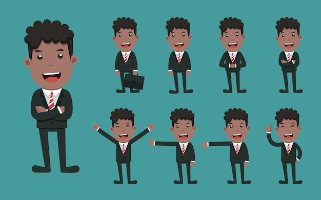 Conjunto de poses diferentes de personagem de homem de negócios. Vetor Premium