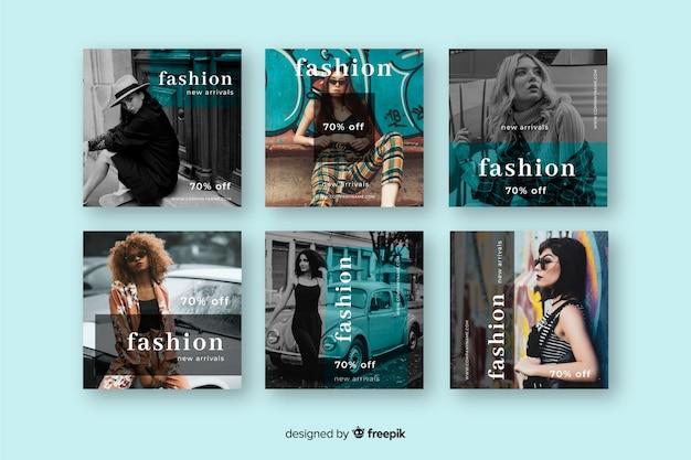 Conjunto de postagem de instagram de venda de moda abstrata Vetor grátis