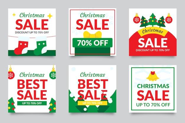 Conjunto de postagem de instagram de venda de natal Vetor grátis