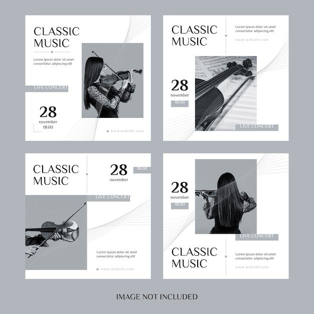 Conjunto de postagens do instagram de música clássica Vetor Premium