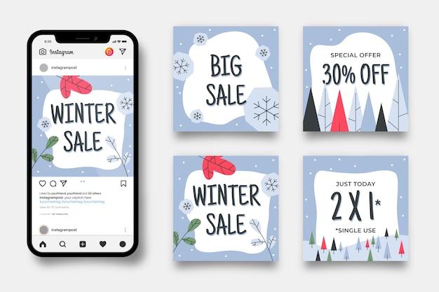 Conjunto de postagens do instagram de venda de inverno Vetor grátis