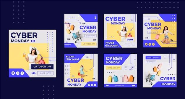 Conjunto de postagens do instagram para cyber monday Vetor Premium
