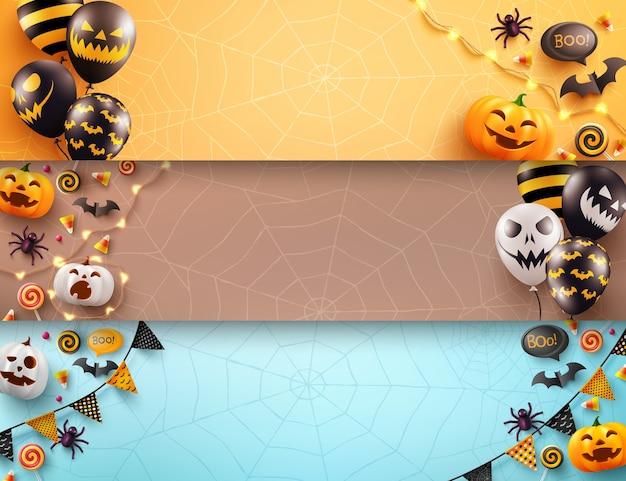 Conjunto de pôster de halloween e modelo de banner com balões de ar assustadores e elemento de halloween Vetor Premium
