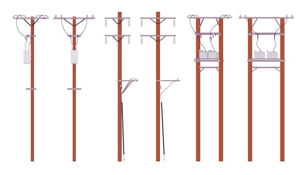 Conjunto de postes elétricos. fios utilitários para distribuição de energia elétrica na cidade, televisão a cabo e telefone. arquitetura paisagística e conceito urbano. ilustração dos desenhos animados do estilo Vetor Premium