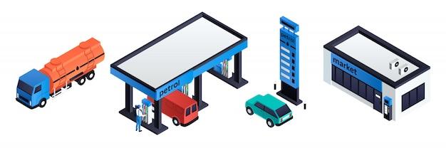 Conjunto de posto de gasolina, estilo isométrico Vetor Premium