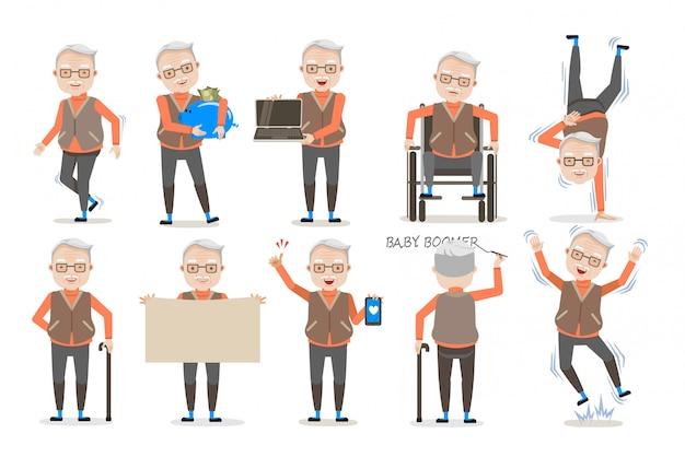 Conjunto de postura de homem idoso. Vetor Premium