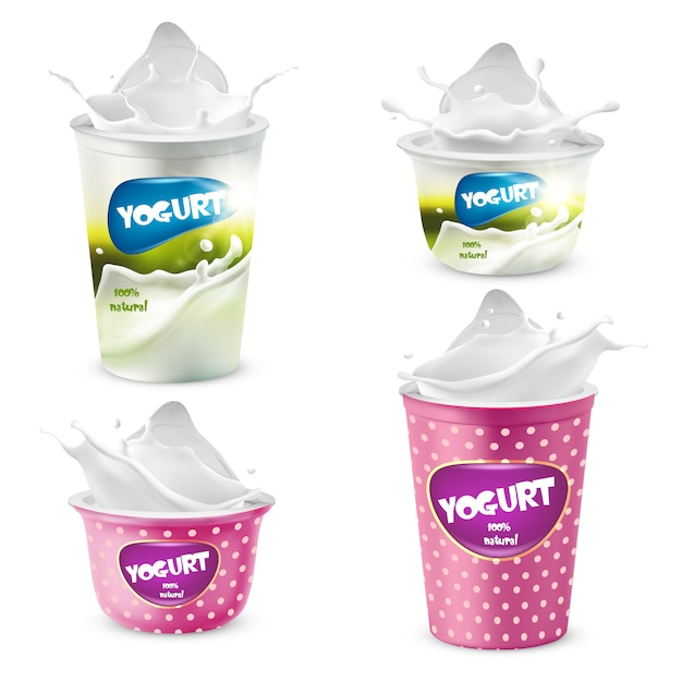 Conjunto de potes de plástico de iogurte com salpicos Vetor grátis