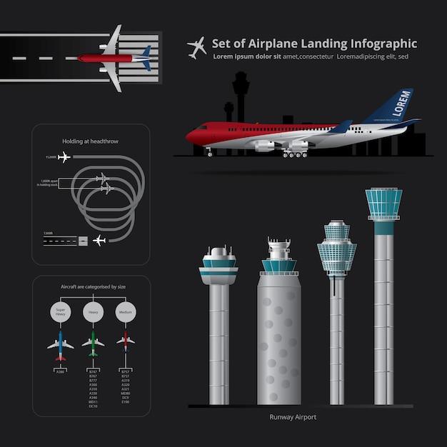 Conjunto de pouso de avião infográfico isolado ilustração vetorial Vetor Premium