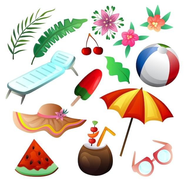 Conjunto de praia de férias elemento verão colorido Vetor Premium