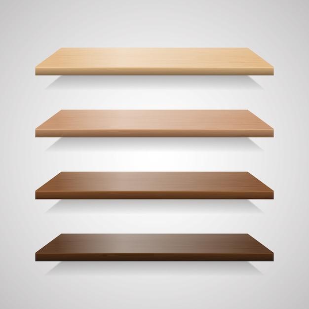 Conjunto de prateleiras de madeira com sombras Vetor Premium
