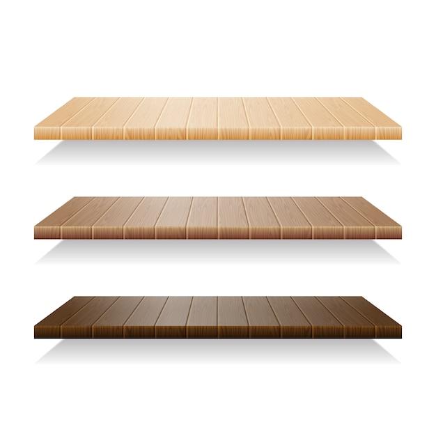 Conjunto de prateleiras de madeira no fundo branco Vetor Premium