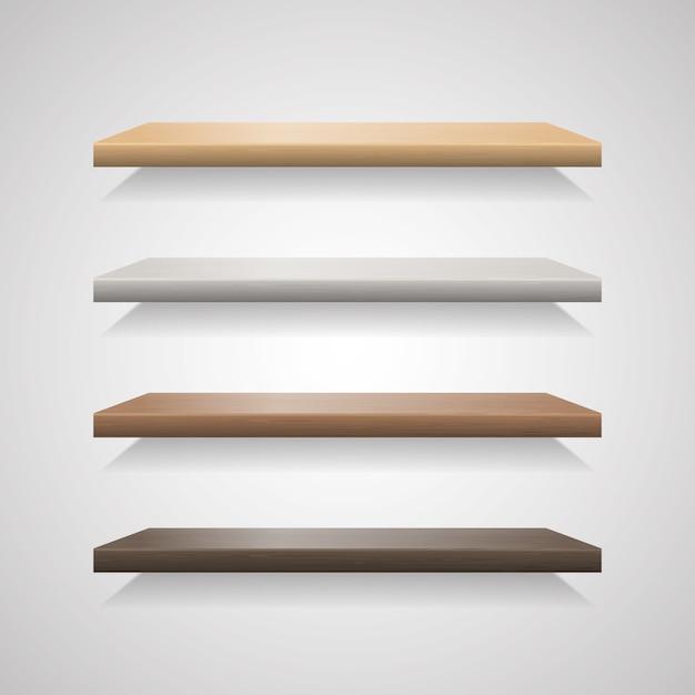 Conjunto de prateleiras de madeira no fundo cinza Vetor Premium