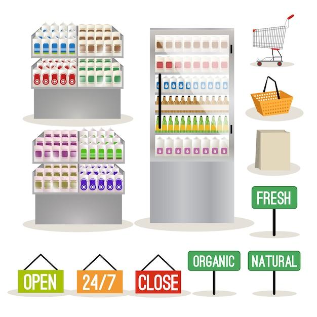 Conjunto de prateleiras de supermercado Vetor Premium