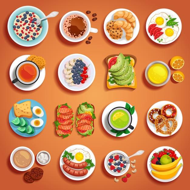 Conjunto de pratos de café da manhã laranja Vetor grátis