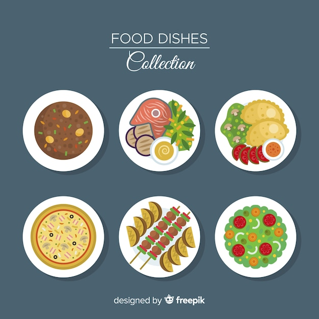 Conjunto de pratos de comida plana Vetor grátis