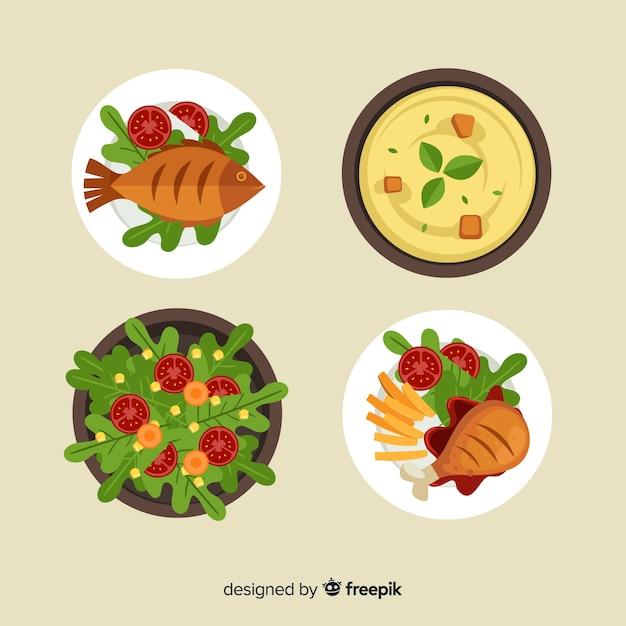 Conjunto de pratos de comida saborosa Vetor grátis