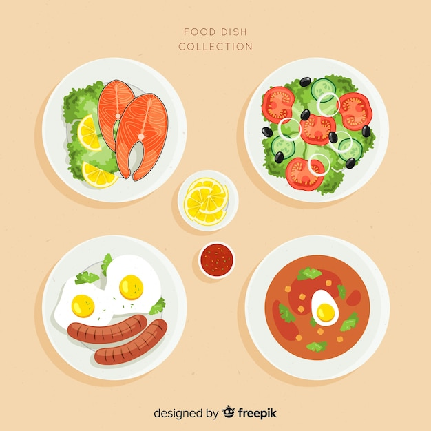 Conjunto de pratos de comida Vetor grátis