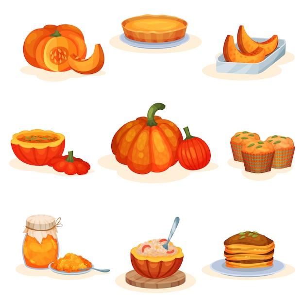 Conjunto de pratos saborosos de abóbora, torta, sopa, pote de geléia, muffin, mingau, panquecas ilustrações sobre um fundo branco Vetor Premium