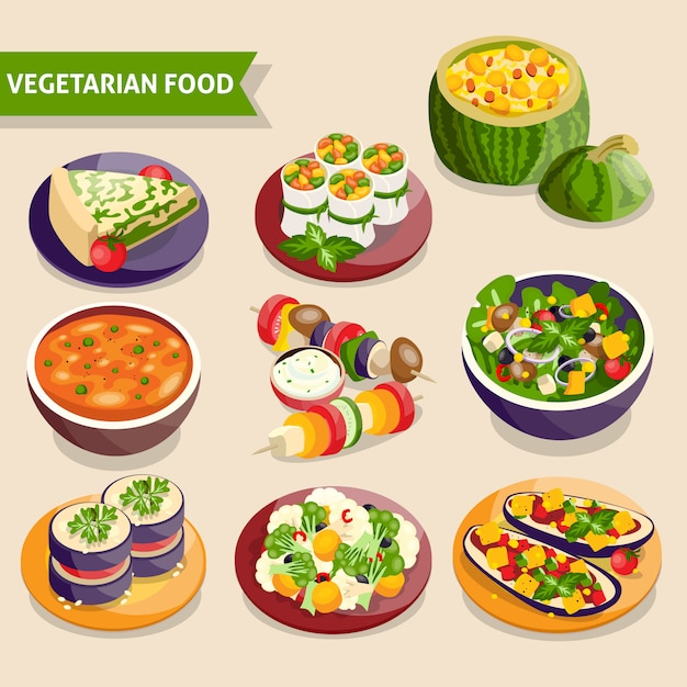 Conjunto de pratos vegetarianos Vetor grátis