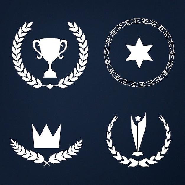 Conjunto de prêmios e emblemas vector Vetor grátis