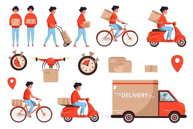 Conjunto de prestação de serviços. conceito de serviço de entrega por correio de caminhão, drone, scooter e bicicleta. Vetor Premium