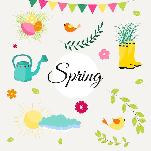 Conjunto de primavera de pássaros bonitos, flores e decorações. cartaz, cartão, álbum de recortes, kit de adesivos. mão-extraídas ilustração vetorial. Vetor Premium