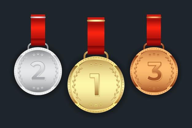 Conjunto de primeira segunda terceira medalha de ouro prata bronze Vetor Premium
