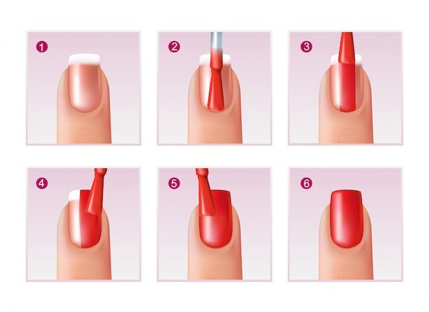 Conjunto de processo de manicure Vetor grátis