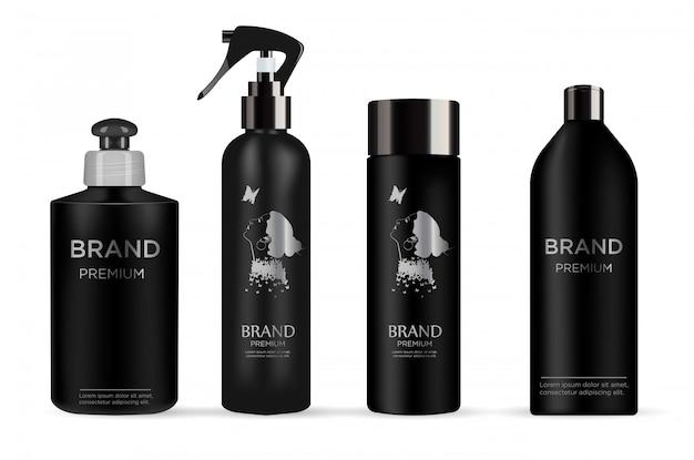 Conjunto de produto cosmético realista pacote preto Vetor Premium