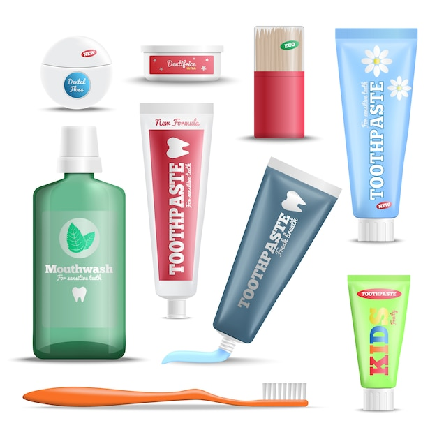 Conjunto de produtos de atendimento odontológico realista Vetor grátis